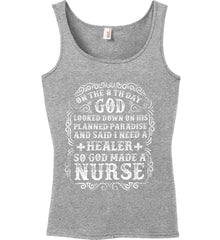 On The 8th Day God Made a Nurse. Women's: Anvil Ladies' 100% Ringspun Cotton Tank Top.