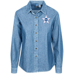 USA. Inside Star. Red, White and Blue. Women's: Port Authority Women's LS Denim Shirt. (Embroidered)