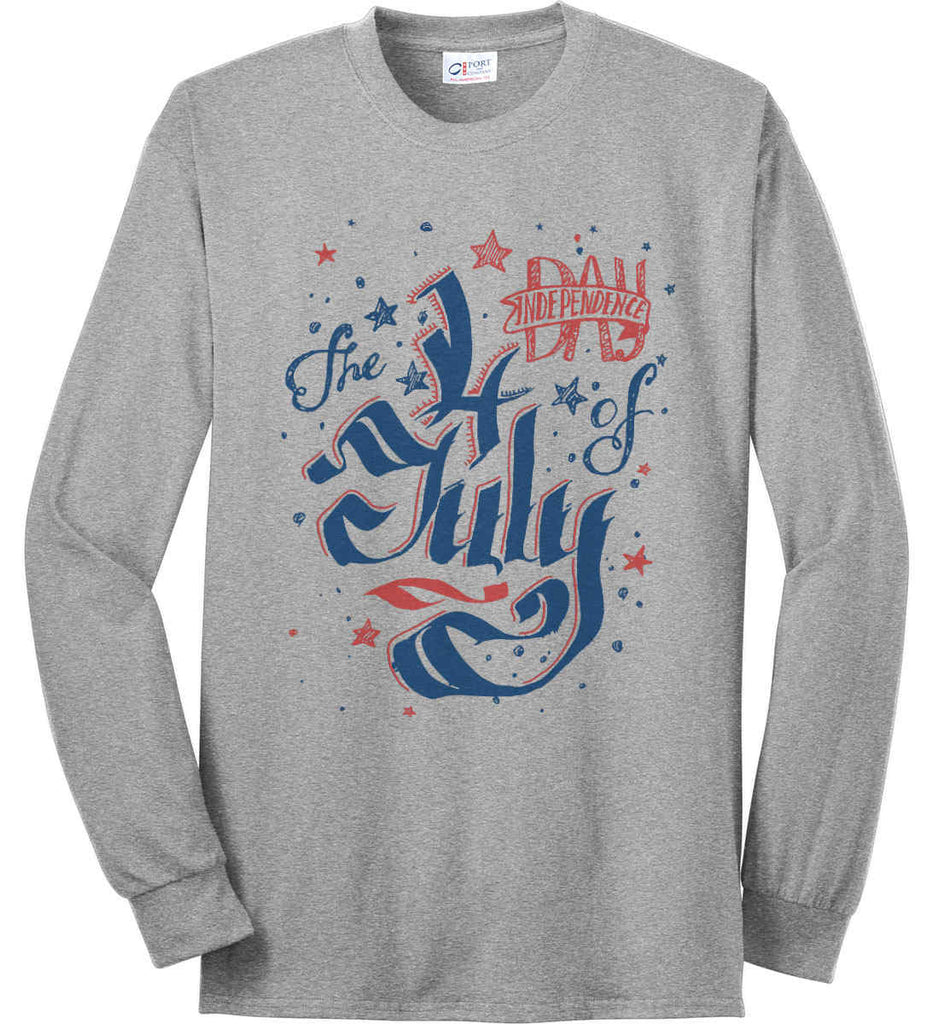 The 4th of July. Ribbon Script. Port & Co. Long Sleeve Shirt. Made in the USA..-4