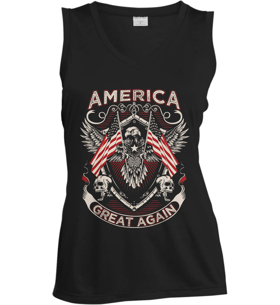 America. Great Again. Women's: Sport-Tek Ladies' Sleeveless Moisture Absorbing V-Neck.-1