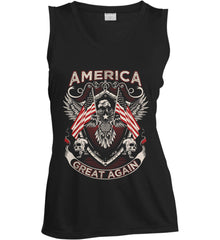 America. Great Again. Women's: Sport-Tek Ladies' Sleeveless Moisture Absorbing V-Neck.