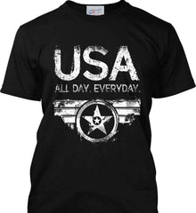 USA All Day Everyday. White Print. Port & Co. Made in the USA T-Shirt.