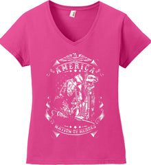 America A Nation of Heroes. Kneeling Soldier. White Print. Women's: Anvil Ladies' V-Neck T-Shirt.