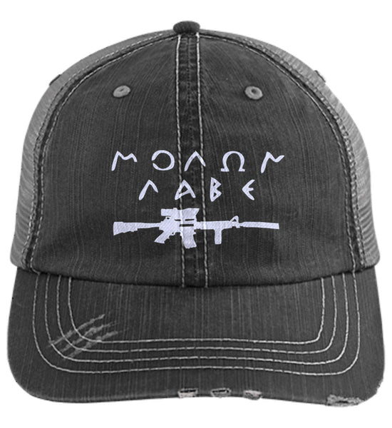 526f246a792 Molon Labe Rifle Hat. Distressed Unstructured Trucker Cap. (Embroidered)