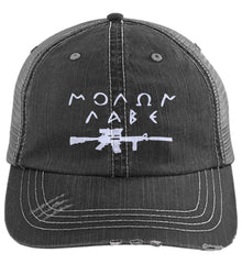 Molon Labe Rifle Hat. Distressed Unstructured Trucker Cap. (Embroidered)