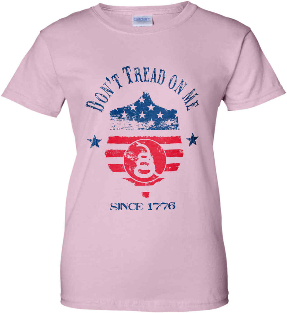 Don't Tread on Me. Snake on Shield. Red, White and Blue. Women's: Gildan Ladies' 100% Cotton T-Shirt.-1