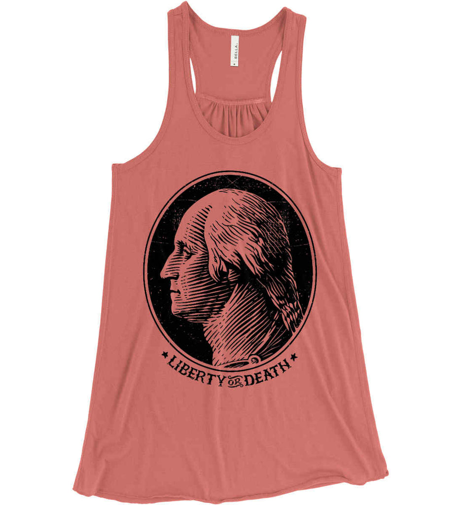 George Washington Liberty or Death. Black Print Women's: Bella + Canvas Flowy Racerback Tank.-3