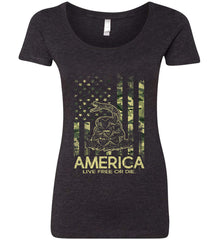 America. Live Free or Die. Don't Tread on Me. Camo. Women's: Next Level Ladies' Triblend Scoop.