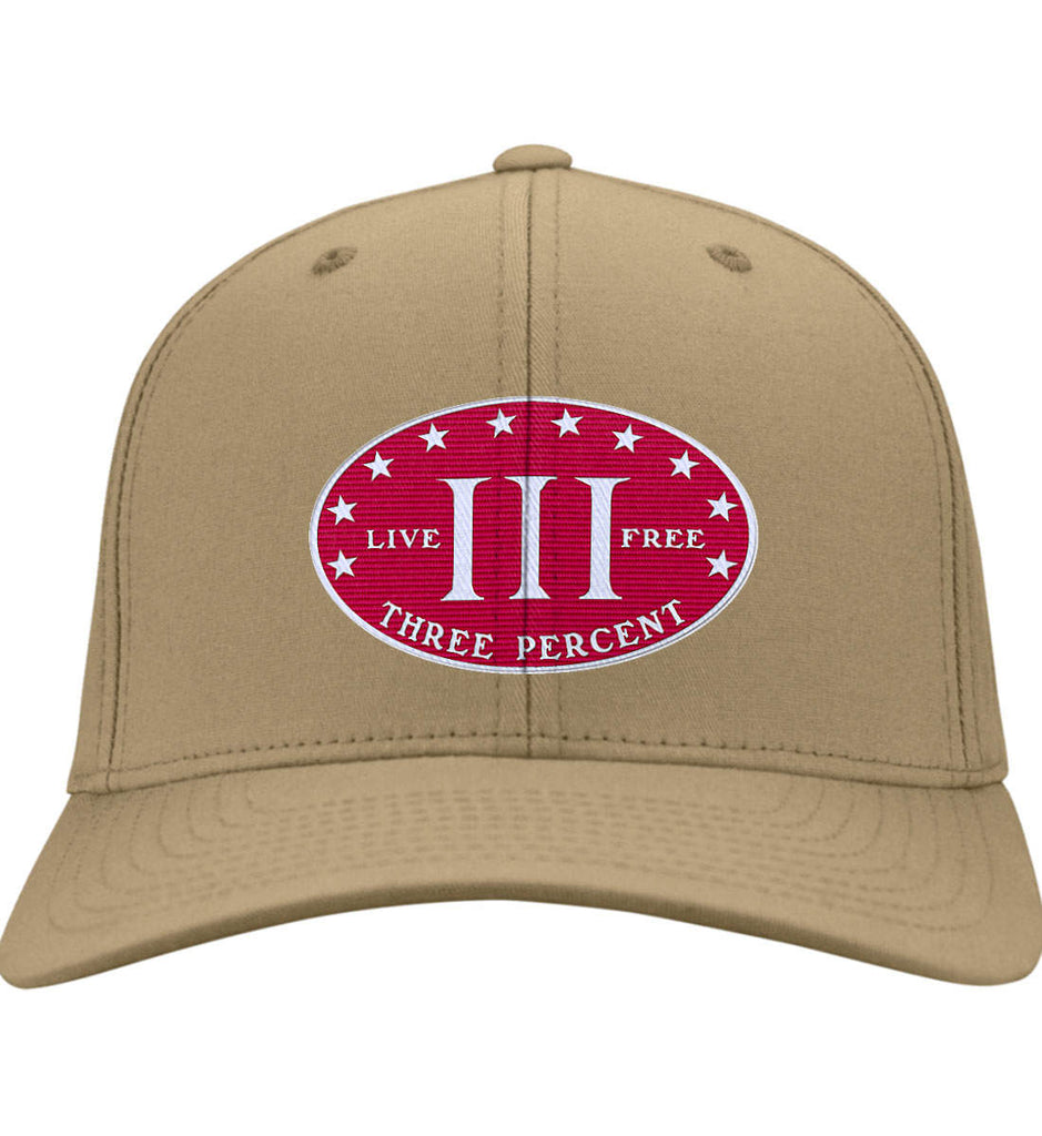 Three Percenter. Live Free. Hat. Port & Co. Twill Baseball Cap. (Embroidered)-5