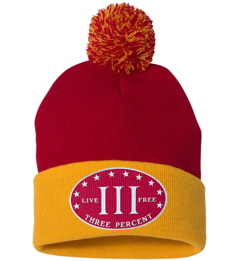 Three Percenter. Live Free. Hat. Sportsman Pom Pom Knit Cap. (Embroidered)-13