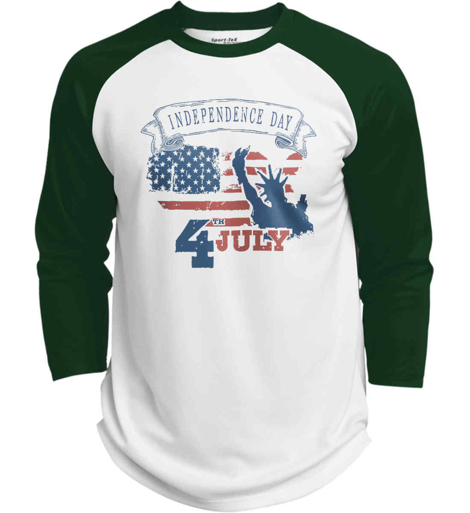 4th of July. Faded Grunge. Statue of Liberty. Sport-Tek Polyester Game Baseball Jersey.-4