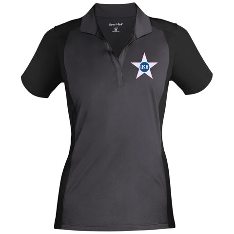 USA. Inside Star. Red, White and Blue. Women's: Sport-Tek Ladies' Colorblock Sport-Wick Polo. (Embroidered)