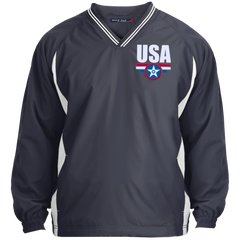 USA. Star-Shield. Red, White, Blue. Sport-Tek Tipped V-Neck Windshirt. (Embroidered)