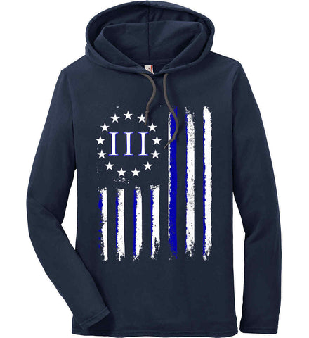 Three Percent Blue Line. Pro-Police. Anvil Long Sleeve T-Shirt Hoodie.