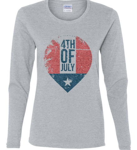 4th of July with Star. Women's: Gildan Ladies Cotton Long Sleeve Shirt.