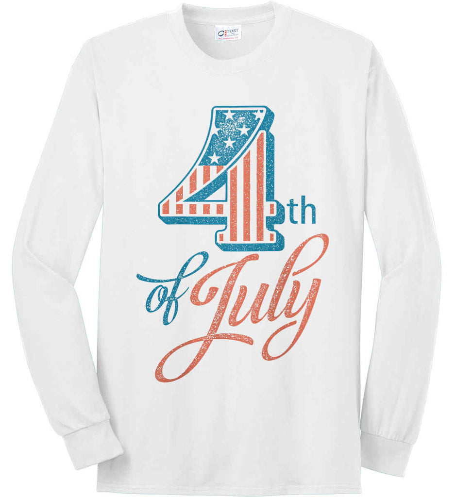 4th of July. Faded Grunge. Port & Co. Long Sleeve Shirt. Made in the USA..-2
