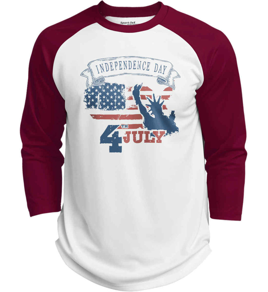 4th of July. Faded Grunge. Statue of Liberty. Sport-Tek Polyester Game Baseball Jersey.-5