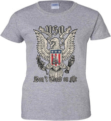 Don't Tread on Me. Eagle with Shield and Rattlesnake. Women's: Gildan Ladies' 100% Cotton T-Shirt.