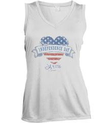 Independence Day. July, 4 1776. Women's: Sport-Tek Ladies' Sleeveless Moisture Absorbing V-Neck.