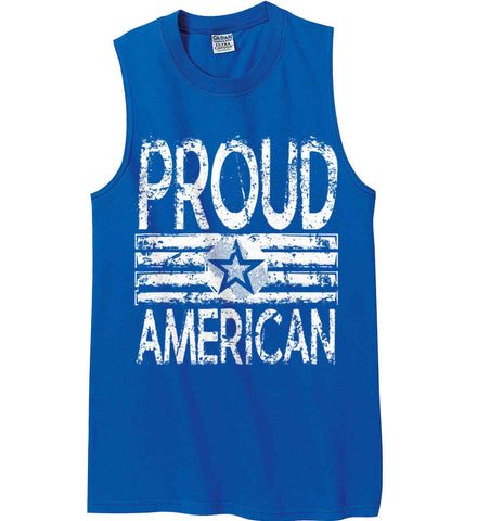 Proud American. Loud and Proud. White Print. Gildan Men's Ultra Cotton Sleeveless T-Shirt.