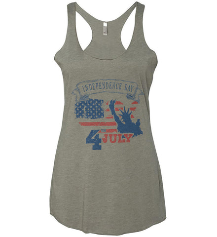 4th of July. Faded Grunge. Statue of Liberty. Women's: Next Level Ladies Ideal Racerback Tank.