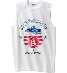 Don't Tread on Me. Snake on Shield. Red, White and Blue. Gildan Men's Ultra Cotton Sleeveless T-Shirt.