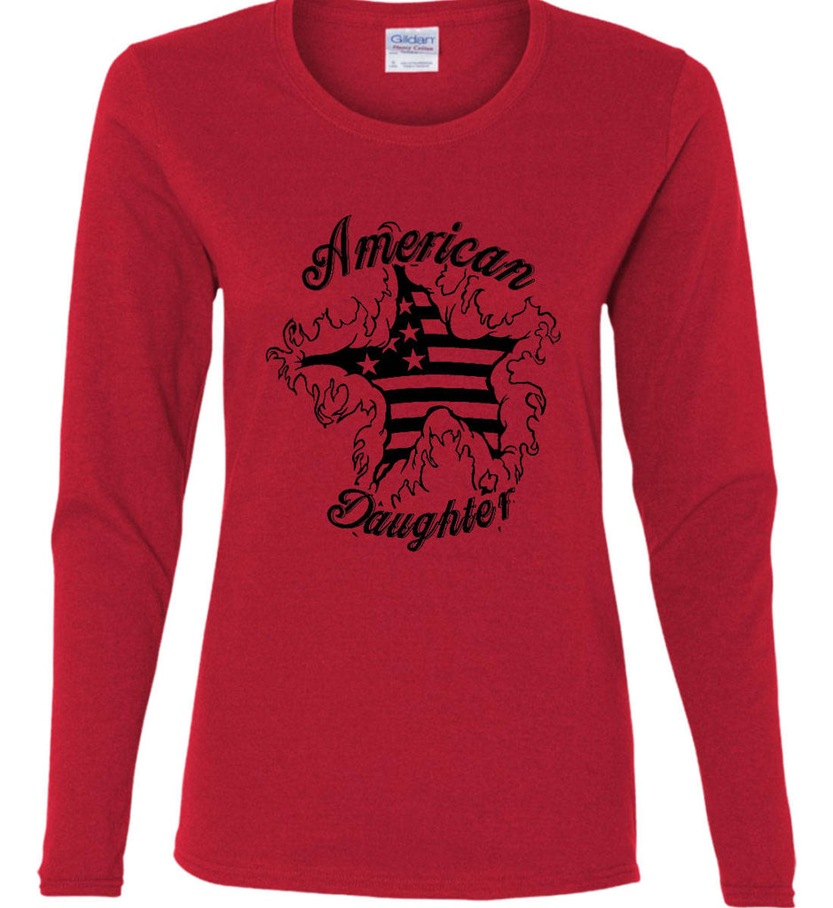 American Daughter. Women's Patriot Design. Women's: Gildan Ladies Cotton Long Sleeve Shirt.-8