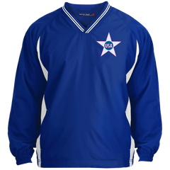 USA. Inside Star. Red, White and Blue. Sport-Tek Tipped V-Neck Windshirt. (Embroidered)