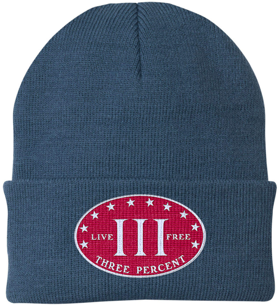 Three Percenter. Live Free. Hat. Port Authority Knit Cap. (Embroidered)-6