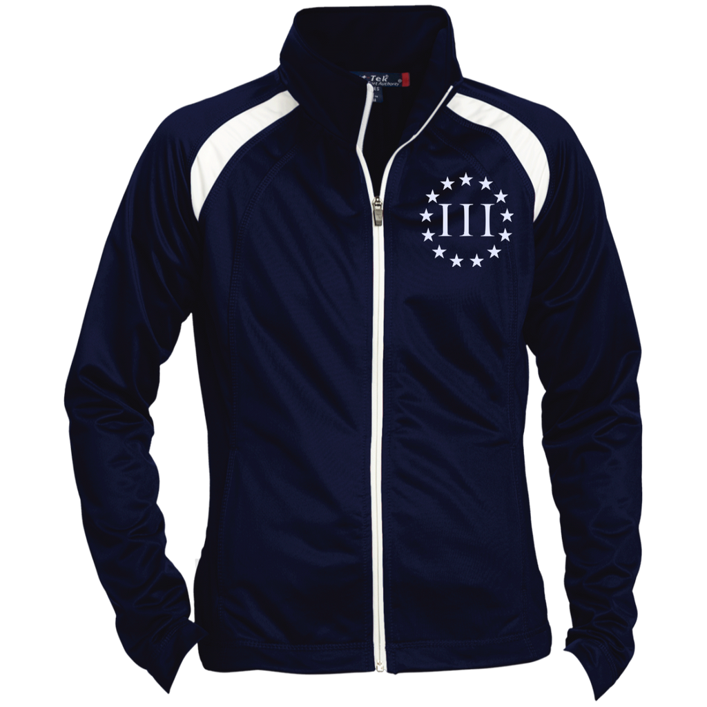 Three Percent III. Surrounded by Stars. Women's: Sport-Tek Ladies' Raglan Sleeve Warmup Jacket. (Embroidered)-1