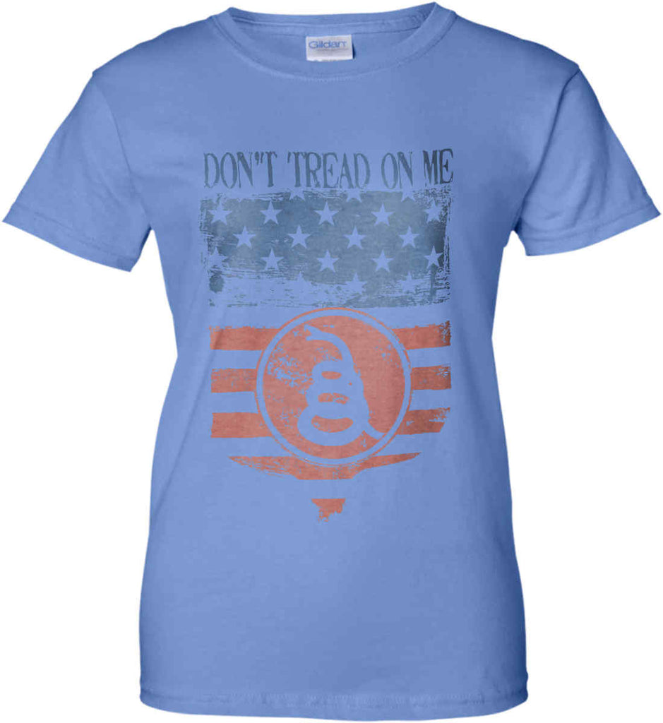 Don't Tread on Me. Rattlesnake. Faded Grunge Shield Women's: Gildan Ladies' 100% Cotton T-Shirt.-4