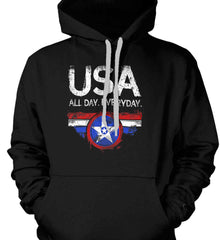 USA All Day Everyday. Gildan Heavyweight Pullover Fleece Sweatshirt.