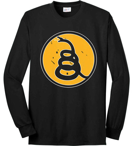 Don't Tread on Me Rattlesnake Shirt. Yellow/Black. Port & Co. Long Sleeve Shirt. Made in the USA..