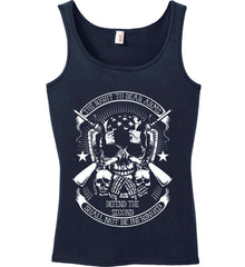 The Right to Bear Arms. Shall Not Be Infringed. Since 1791. White Print. Women's: Anvil Ladies' 100% Ringspun Cotton Tank Top.