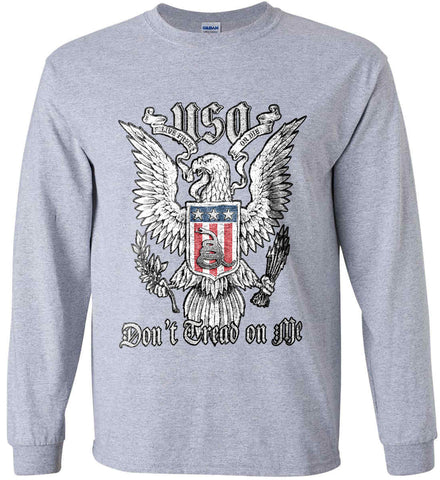 Don't Tread on Me. Eagle with Shield and Rattlesnake. Gildan Ultra Cotton Long Sleeve Shirt.