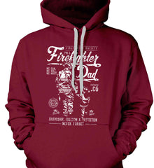 Firefighter Dad. Friendship, Freedom & Protection. White Print. Gildan Heavyweight Pullover Fleece Sweatshirt.
