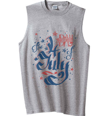 The 4th of July. Ribbon Script. Gildan Men's Ultra Cotton Sleeveless T-Shirt.