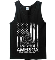 America. Live Free or Die. Don't Tread on Me. White Print. Gildan 100% Cotton Tank Top.