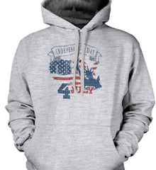 4th of July. Faded Grunge. Statue of Liberty. Gildan Heavyweight Pullover Fleece Sweatshirt.