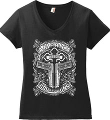 America Needs God and Guns. White Print. Women's: Anvil Ladies' V-Neck T-Shirt.