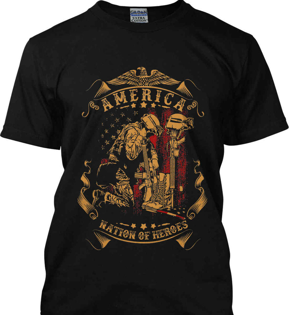 America A Nation of Heroes. Kneeling Soldier. Gildan Ultra Cotton T-Shirt.-1