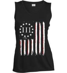 Three Percent on American Flag. Women's: Sport-Tek Ladies' Sleeveless Moisture Absorbing V-Neck.