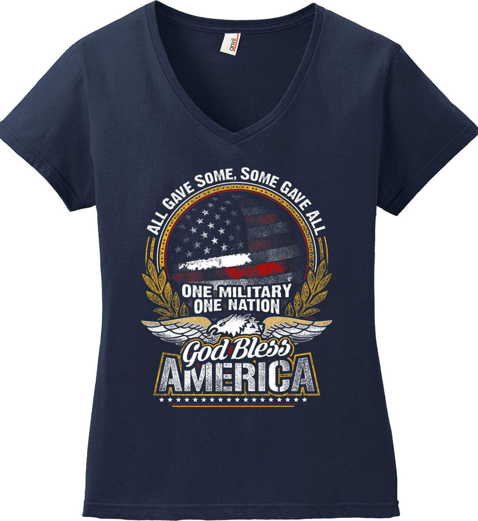All Gave Some, Some Gave All. God Bless America. Women's: Anvil Ladies' V-Neck T-Shirt.-2