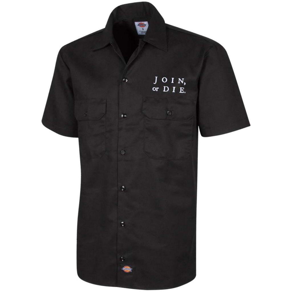 Join Or Die. White Text. Dickies Men's Short Sleeve Workshirt. (Embroidered)-2