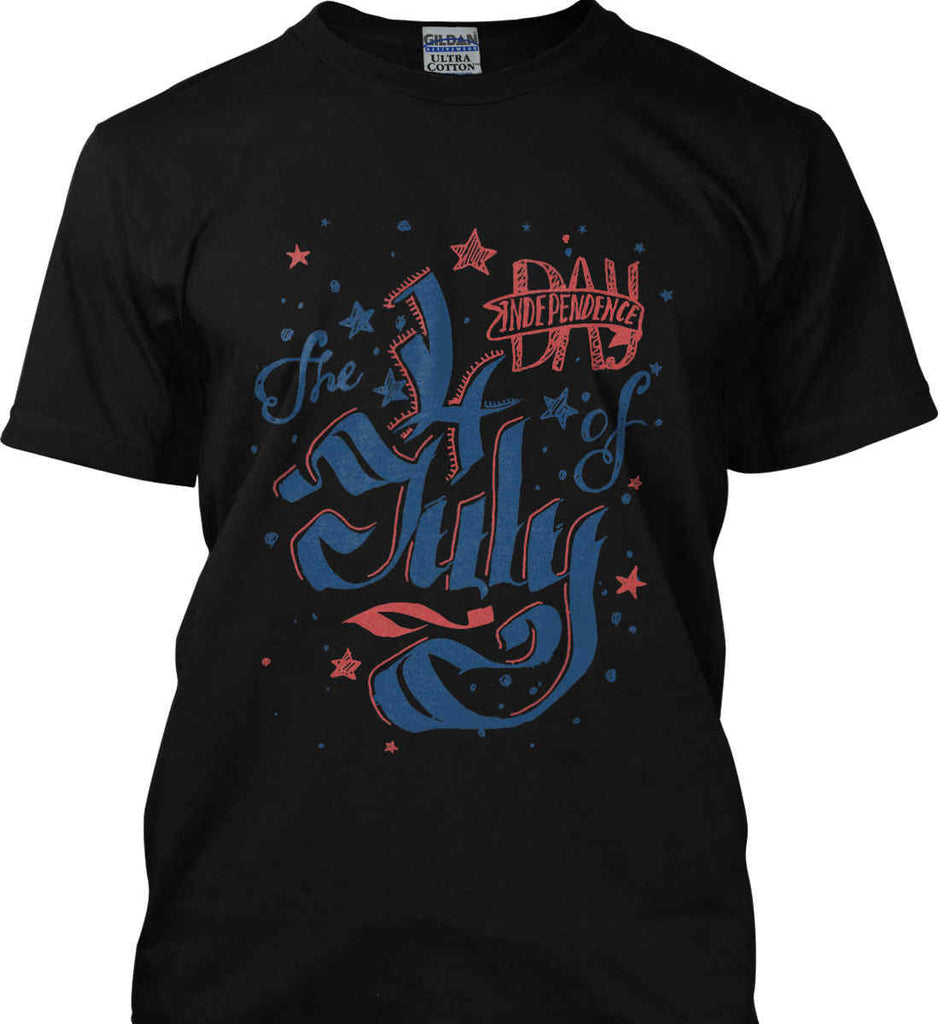 The 4th of July. Ribbon Script. Gildan Tall Ultra Cotton T-Shirt.-3