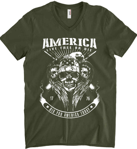 Did you America Today. 1776. Live Free or Die. Skull. White Print. Anvil Men's Printed V-Neck T-Shirt.
