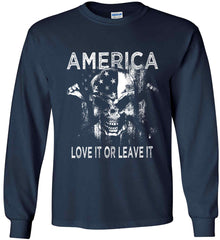 America. Love It or Leave It. White Print. Gildan Ultra Cotton Long Sleeve Shirt.
