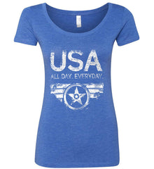USA All Day Everyday. White Print. Women's: Next Level Ladies' Triblend Scoop.