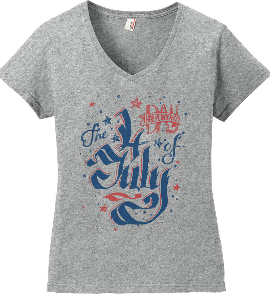 The 4th of July. Ribbon Script. Women's: Anvil Ladies' V-Neck T-Shirt.-1