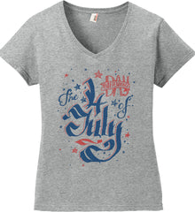The 4th of July. Ribbon Script. Women's: Anvil Ladies' V-Neck T-Shirt.
